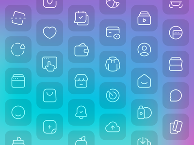 Swipin Iconography icon set color iconography shopping social wallet fintech money ecommerce line icons interface fashion stroke card icon design glassmorphism clother user payment mobile