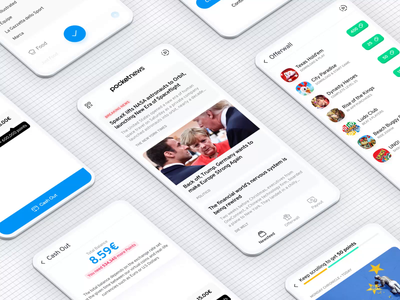 PocketNews Showcase isometric sketch animation games play lifestyle fashion sports politics newsfeed paypal cash points news app rewards article cards ui design mobile gamification