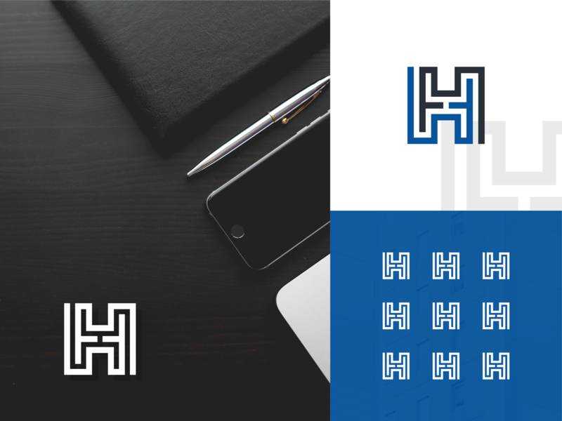 Letter H Labyrinth Logo Design illustration shape icon abstract vector branding alphabet business typography logotype black blue monogram design logo labyrinth type font h letter