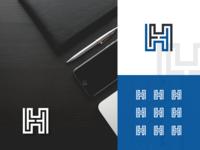 Letter H labyrinth logo design