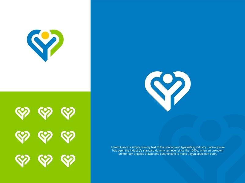 Love and Letter Y Logo Design branding type font alphabet illustration shape social letter business abstract monogram vector logo design human respect people group charity love