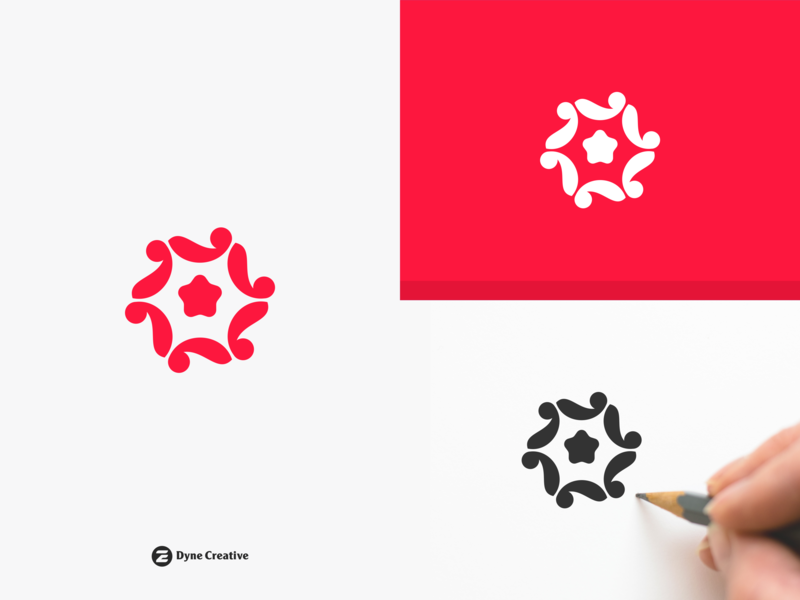 Star United Logo Design branding typography illustration letter shape monogram business abstract vector design logo simple volunteer social healthy care human people united star