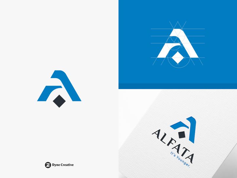 Alfata Logo Design letter shape monogram business abstract vector type letter a a blue design logo young arabic islam clothing cloth wear muslim alfata