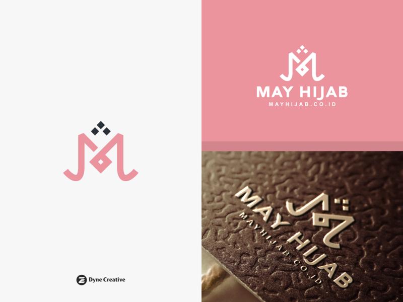 May Hijab Logo Design illustration letter shape monogram business abstract vector pink art design logo truth peace muslim arabic islamic muslimah jilbab hijab may