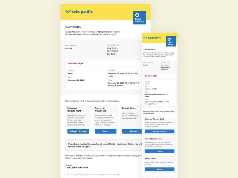 Manage Flight Disruptions Email user experience cebupacific cebu pacific cebu pacific air airline