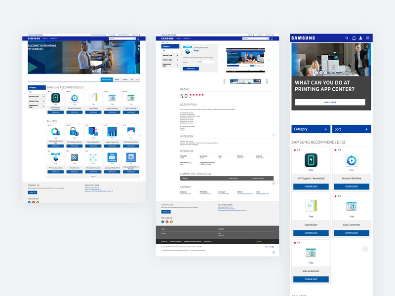 Samsung Smart Printing App Center ui ux userinterface web front high fidelity printing design user experience design user interface design user experience smart ux smartux samsung printing