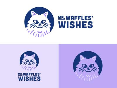 Mr. Waffles' Wishes cats meow purple organization nonprofit care pet animal minimalist clean wishes waffles cat typography illustration design vector logo branding