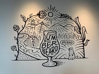 Lumberbeard Mural branding linework handlettering typogaphy illustration mural art mural design