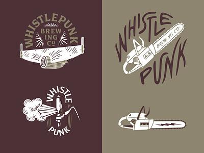 WhistlePUNKD brewing beer design logo packaging branding lettering typography badge illustration