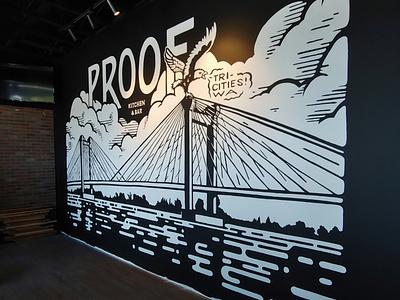Proof Gastropub 2.0 branding landscape restaurant lettering design illustration painting muralist mural