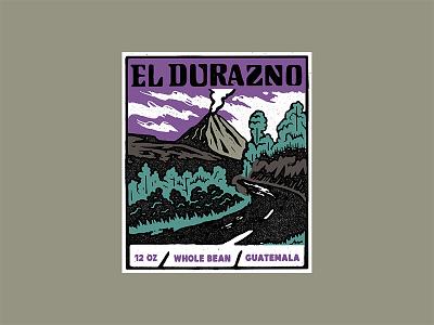 El Durazno lettering woodblock printmaking illustration label packaging coffee
