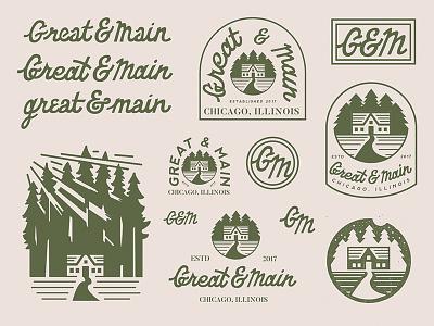 Great & Main typography lettering hand lettering badge logo brand lockups branding