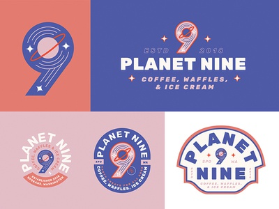 Planet 9 lettering badge logo color palette design branding