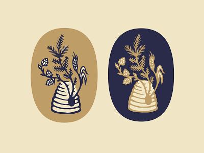 Hive 'n Jive 2 mead beehive honey brewing beer branding badge logo illustration