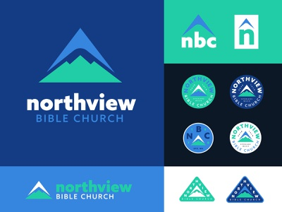 Norf Norf View mountain branding and identity color badge logo branding