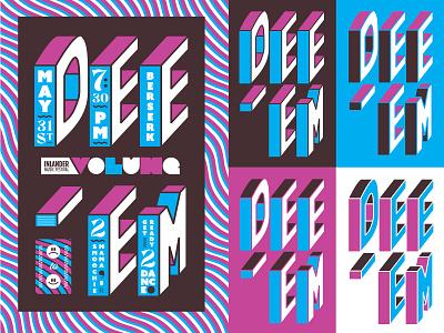 dee-em, Gurl type lettering color festival bandmerch band layout poster illustration