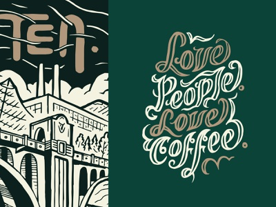 TEN. coffee mural packaging branding lettering type typography illustration