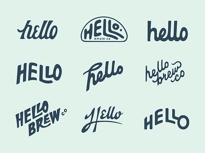 Uhhhhhhhhh Hello? logo wordmark monogram brewery logo beer branding beer brewery handlettering color typography type