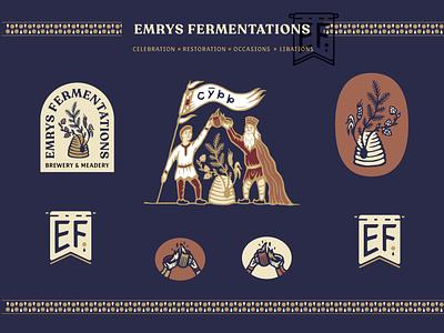 Emrys Fermentations brewing mead beer color brand identity merch patch wordmark monogram badge illustration branding brand