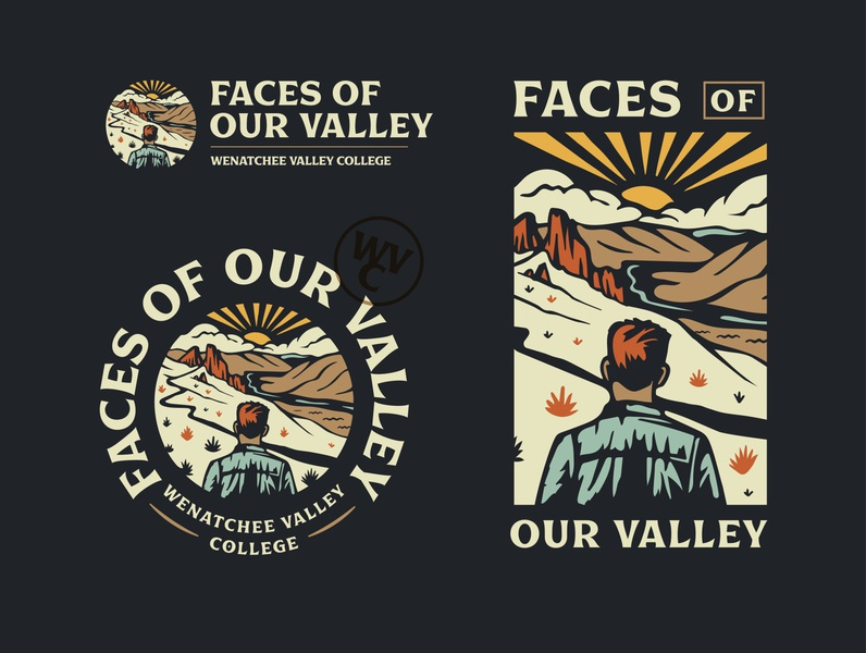 Valleyface color font college merch badge landscape illustration branding design branding