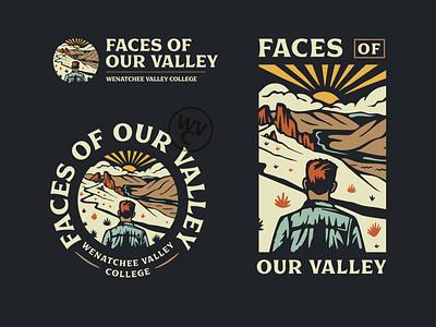Valleyface color font college merch badge landscape illustration branding design branding