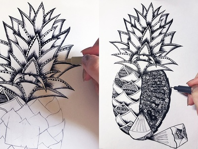 Hand-painted pineapple
