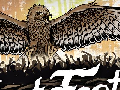 Nest Fest 2017 - festival poster pen  ink gig poster bands inking illustration concert buzzard music rock festival