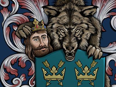 Wolf and the King - Bury St Edmunds Coat of Arms suffolk tshirt art tshirt tshirt design illustration bury st edmunds heraldic coat of arms king wolf
