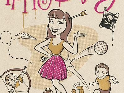 Retro Birthday Card mischief mum halftones illustration brothers kids mother vintage greeting card birthday card 50s retro