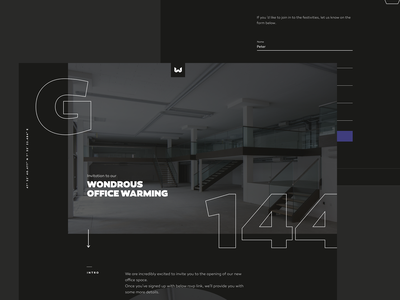 Office Warming Event – Landing Page rsvp party warming officer landing page motion concept ui web design