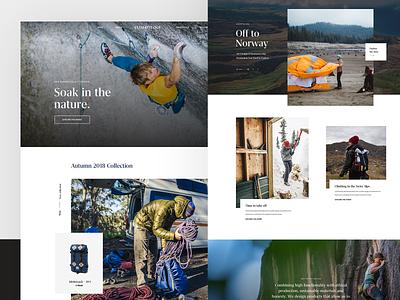 Climatology – Homepage – Art Direction ui  ux ui web design website concept art direction launch climatology brand lookbook nature bouldering surf outdoors webshop ecommerce shop website