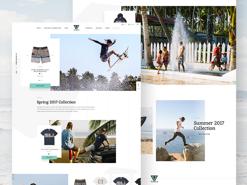 VISSLA Redesign Concept – Lookbook shop lookbook web design redesign concept vissla slider ux ui animation parallax surf
