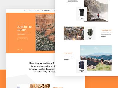 Climatology – Homepage website hero exploration ux-ui outdoor backpacks shop brand slider webdesign product lookbook nature climatology