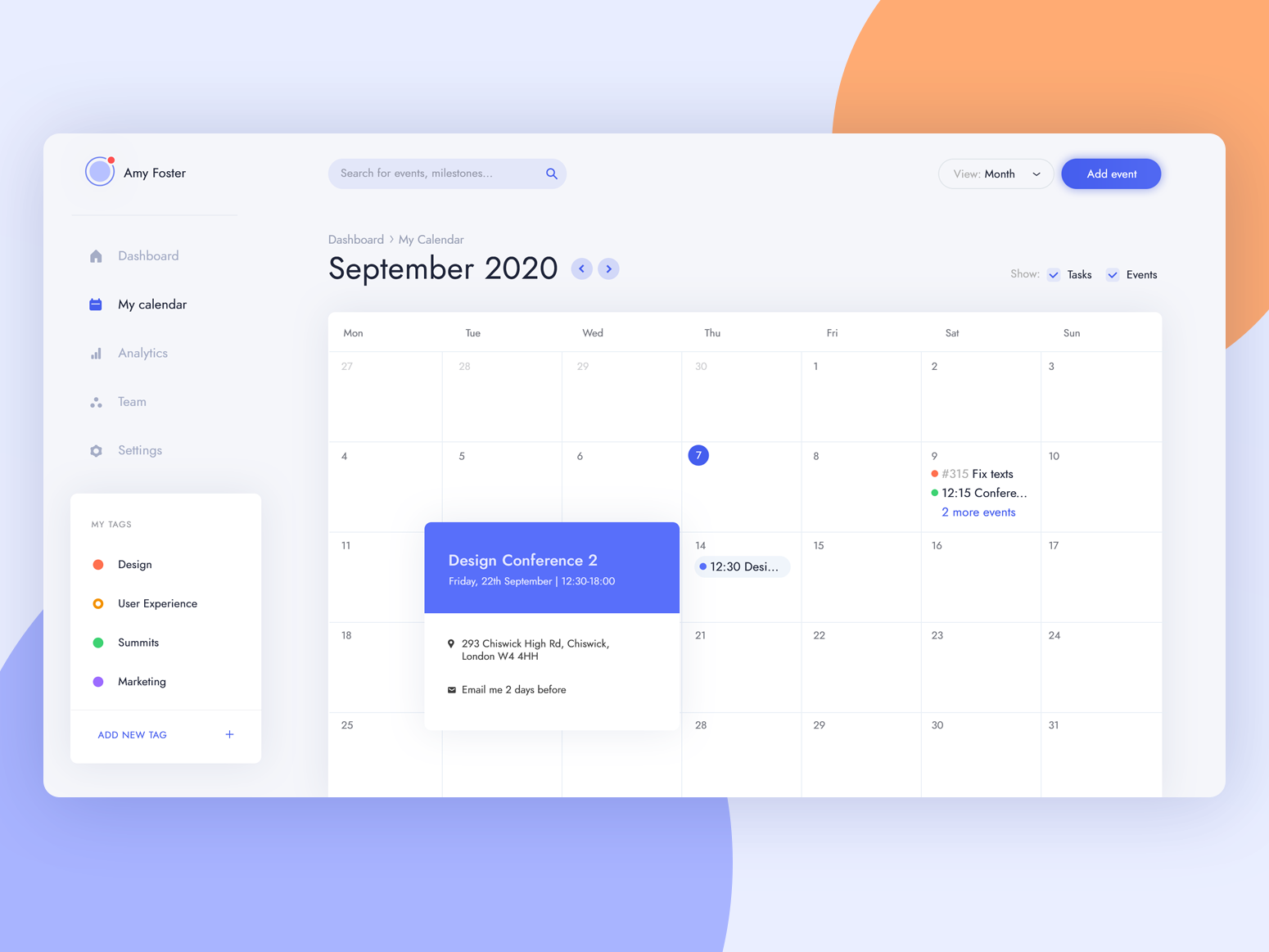 Task management - calendar view hioi blue bright light app design user interface ux calendar managment task app design ui