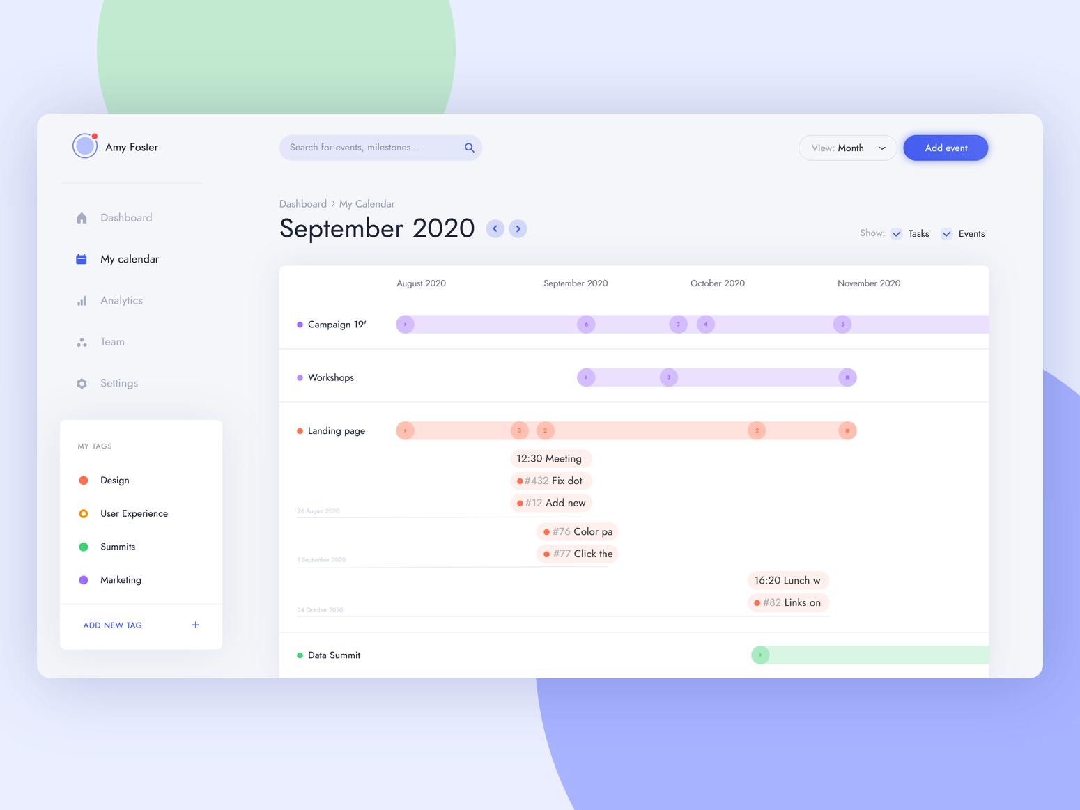 Task management - timeline view dashboard tags manager calendar timeline design user experience light blue clean ux user interface ui app management task