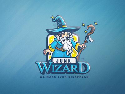 Junk Wizard packaging logo design wizard magic character design mascot illustration branding