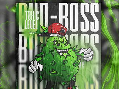 Bud Boss illustration poster visual identity branding e-liquid cbd mascot kratom cannabis character design bud nft
