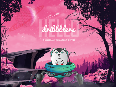 Dribbble Shot Debut trees ship pink woods forest world planet alien rat space illustration