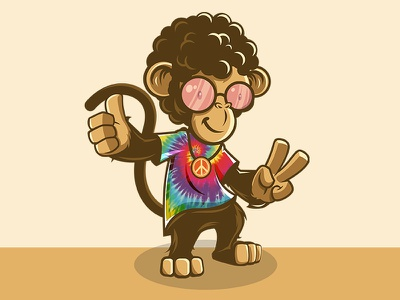 Mole Munkey branding logo design character design character mascot design mascot illustrator illustration hippie tees monkey