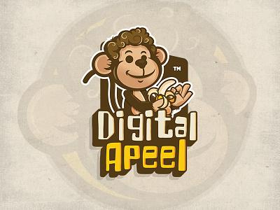 Digital Apeel cool monkey mascot design character design logo design venezuela illustrations illustrator banana monkey branding brand