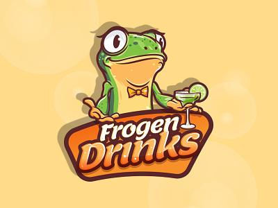 Frogen Drinks brand character drink frog mascot logo