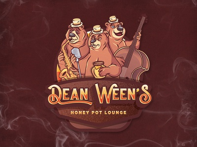 Dean Ween's drinks honey typography illustration branding music jazz badge emblem character mascot logo bear bears