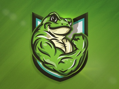 Flexing Frog logo design mascot design character athletic sport esports app illustrator branding brand mascot illustration frog