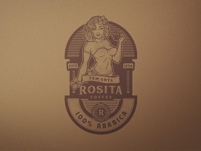Rosita Coffee emblem vintage coffee illustration vector character design logo design branding
