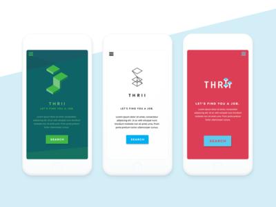 Thrii - 3 concepts for same brand / brand & UI design