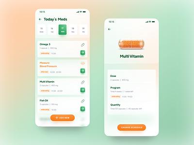 Medication Reminder App | Concept gradient glass effect ui app concept alarm healthcare medical patient pills reminder calendar medicine medical app