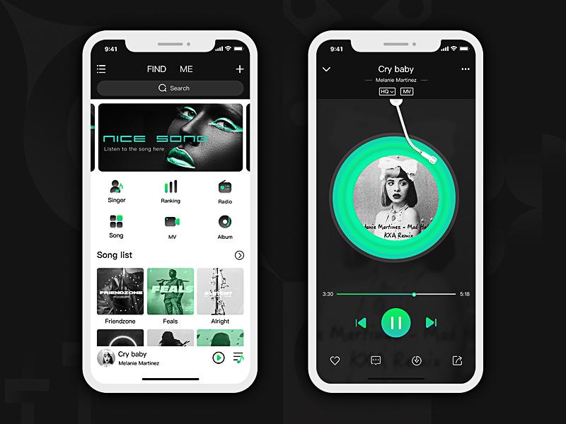 Music APP music app,icon ui green