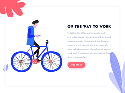 On The Way To Work vector ui illustration graphic colors