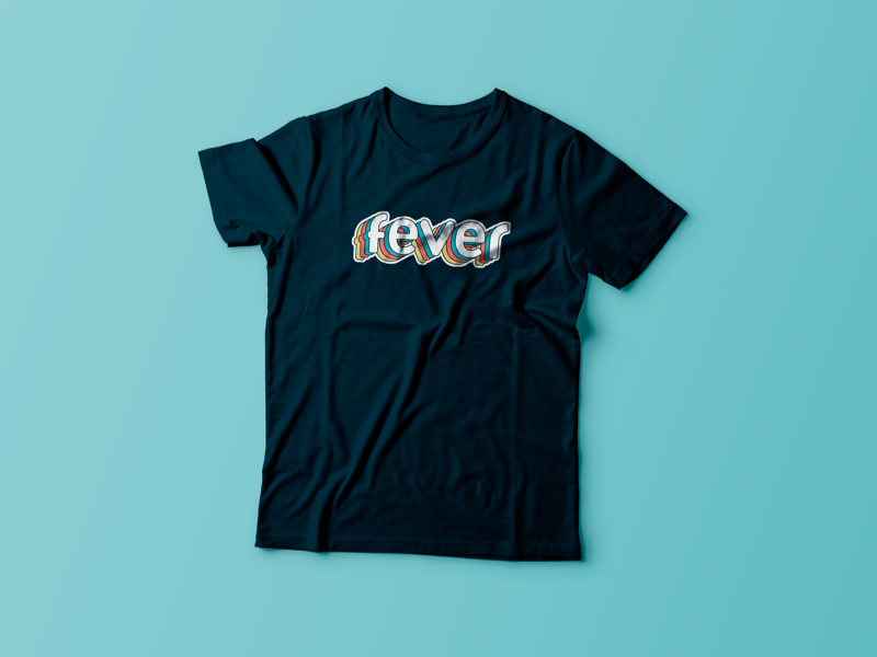 Fever t-shirts for staff (Discarded design) t-shirts sticker staff retro logo fever design branding