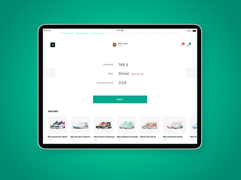 Ipad app UI/UX shop